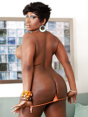 Curvy natural looking black tgirl