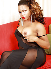 Horny black tgirl with a big black cock!