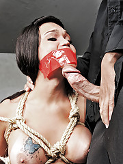 Bound shemale gets her ass destroyed