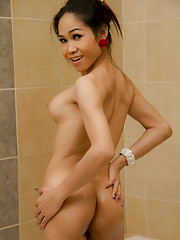 Petite and oiled Asian Tgirl
