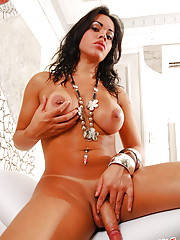 Raven haired tranny in lingerie