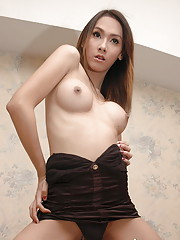 Cute Asian shemale in mini skirt