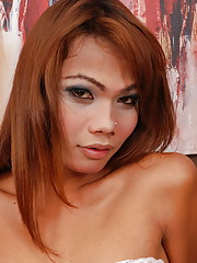 Ladyboy in holiday red lingerie jacks off