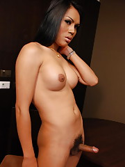 Exotic ladyboy gets naked and gives blowjob