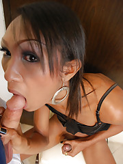 Ladyboy sucking Rafes thick cock