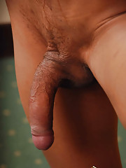 Shecock stroking ladyboy spews hot cum