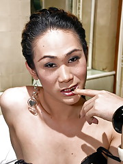 Sexy ladyboy shows her cock after cum