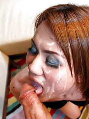 Ladyboy gets face covered in hot sperm