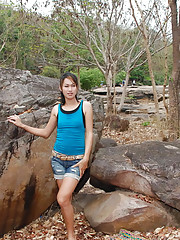 Asian ladyboy with small tits naked outdoors