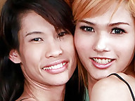 Two cute Thai katoeys fuck each other hard
