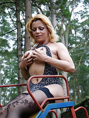 Shemale in sexy lingerie and stockings