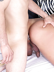 Tranny tops her man then gets pounded