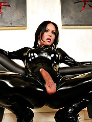 Latex clad shemale hotties striptease