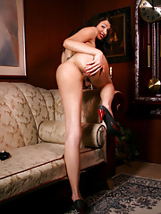Hot and beautiful Bambi stripping and posing