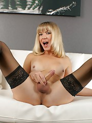 Seductive Lora posing in sexy black stockings