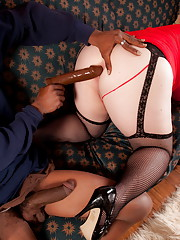 Lovely Michelle sucking on a huge black cock