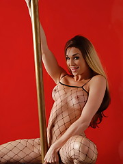 TS Jonelle pole dancing in body stockings