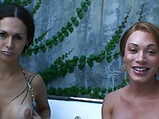 Two hot transsexual babes interviewed in a jacuzzi