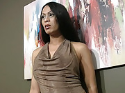 Asian tranny shows her dick very hard