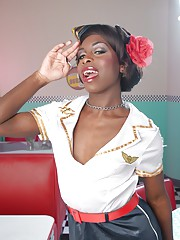 Hot ebony Bambie showing her hot body