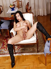 Hot Vera strips and poses in long boots