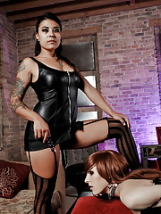Cute tgirl Ryder gets bound, tittytortured and toyed
