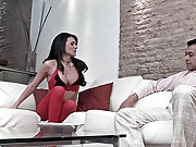Sexy shemale in red pantyhose fucks her boyfriend