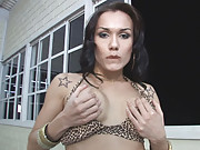Oil Covered Kalena Strokes Her Dick