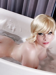 Seductive TS Sarina toying in the bath tub