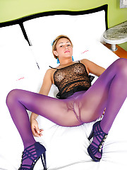 Pantyhose clad shemale cock sucking and fucking