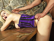 Blonde tranny in purple used and abused