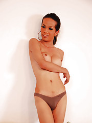 Model thin ladyboy showing off shecock