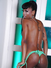 Black transsexual hottie Natassia stripping