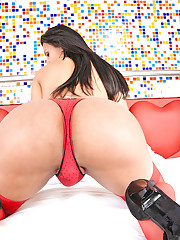 Super hot shemale in red stockings fucked