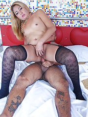 Tranny fucks dude then takes his length!