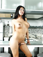 Lovely transsexual Natalia posing in the kitchen
