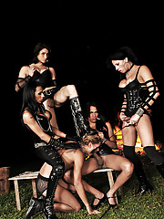 Chained slave does what his ts mistresses command