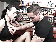 Tgirl cock sucking in a bar