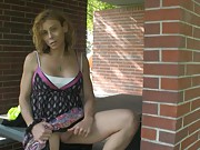 Naughty & horny Jasmine Jewels playing with herself outdoors