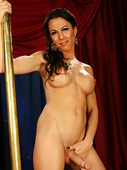 Pretty Danika strip dancing by the pole