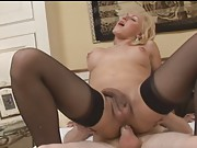 Hot blonde tgirl Melissa riding on a big hard cock