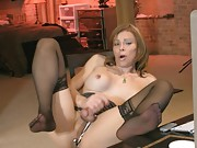 Hot TMILF jerking off her juicy dick