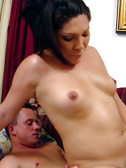Latina tranny with nice body gets some jizz on her tits