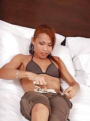 Red haired ladyboy strokes fat shecock