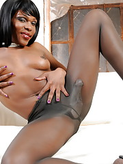 Chocolate tgirl Gabriella teasing in pantyhose