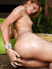 Horny shemale strokes her thick shemeat