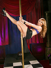 Gorgeous tgirl Khloe pole dancing and posing
