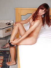 Sexy brunette tranny plays with girl rod