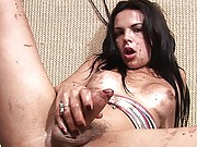 T-girl cums hard after a sticky tugjob