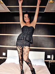 Tranny pantyhose pulled down and analized